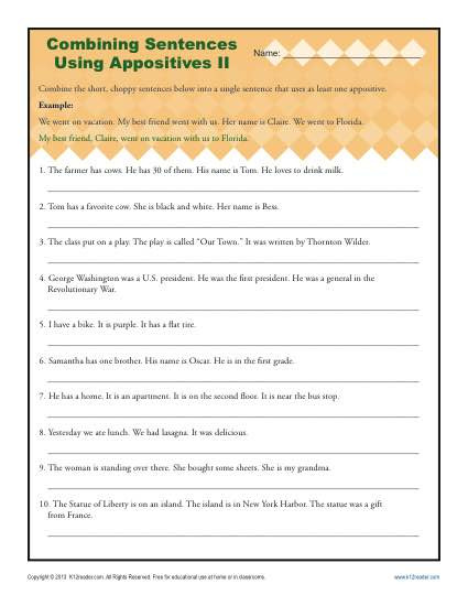 Combining Sentences Worksheet 3rd Grade Bining Sentences with Appositives Ii