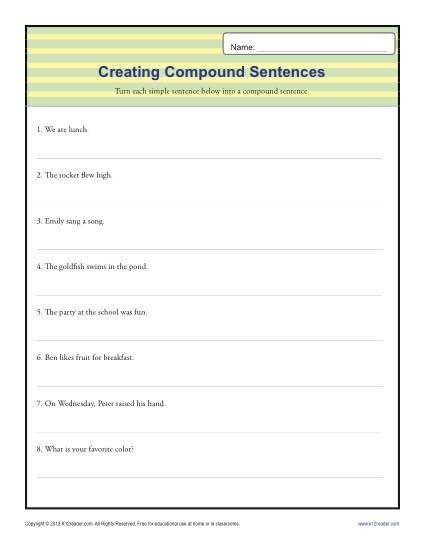 Combining Sentences Worksheet 3rd Grade Pund Sentence Worksheet
