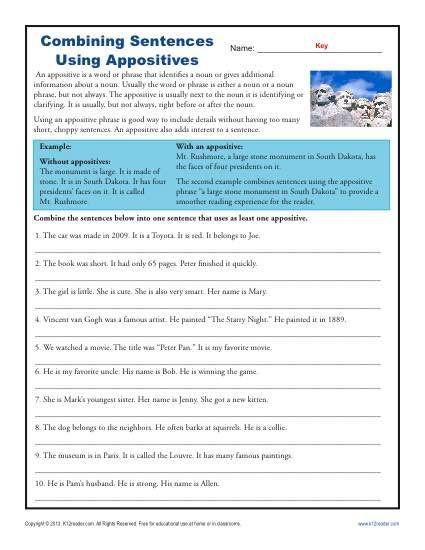 Combining Sentences Worksheet 5th Grade Bining Sentences with Appositives