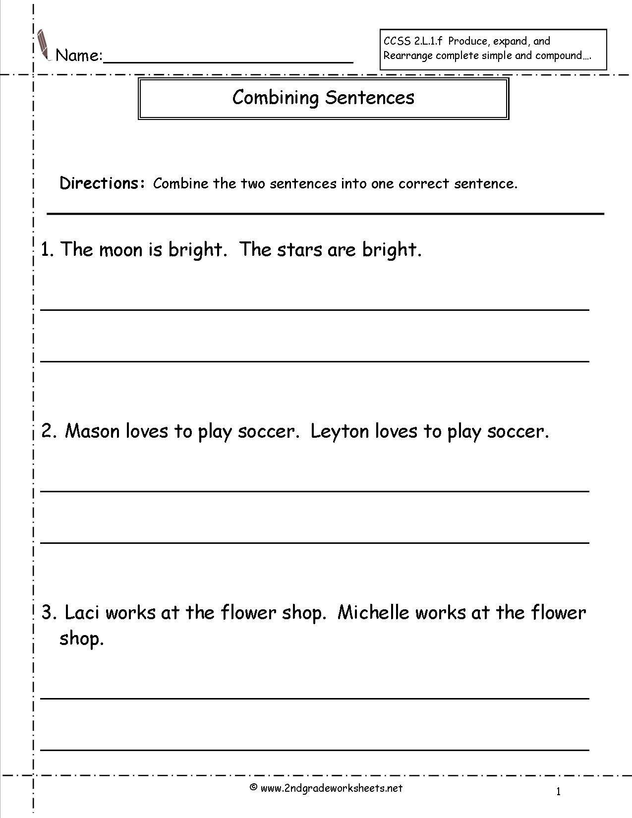 Combining Sentences Worksheet 5th Grade Bining Sentences Worksheet