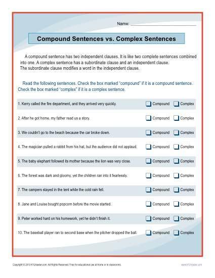 Combining Sentences Worksheet 5th Grade Pound Sentences Vs Plex Sentences Worksheet