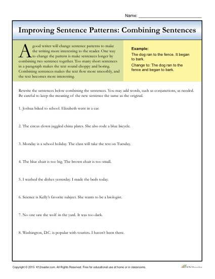 Combining Sentences Worksheet 5th Grade Sentence Patterns Bining Sentences