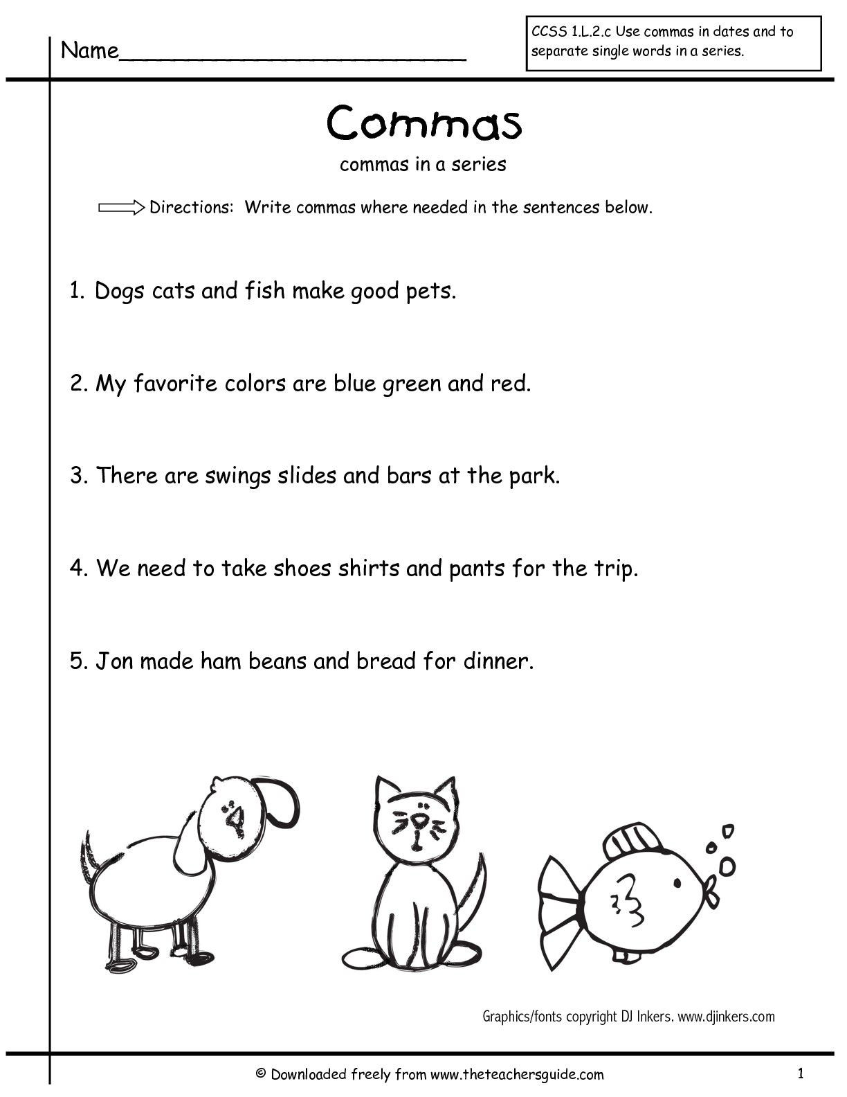 Commas Worksheet 3rd Grade Grammar Worksheets Mas In A Series First Grade Free