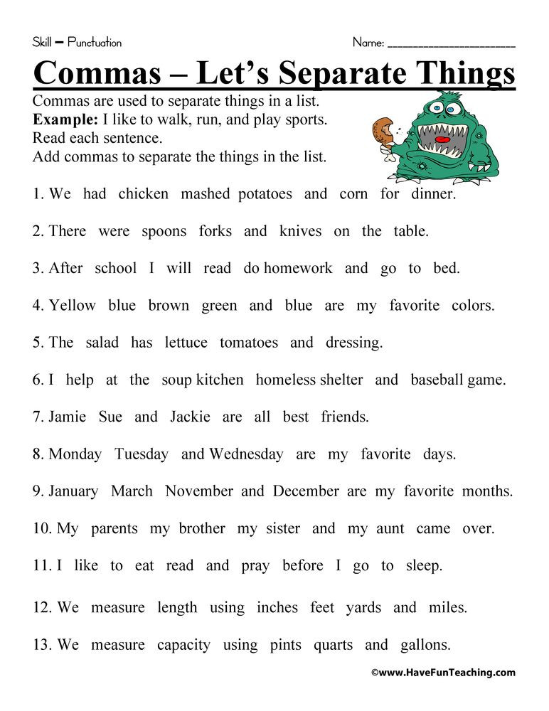 Commas Worksheet 3rd Grade Ma Worksheet