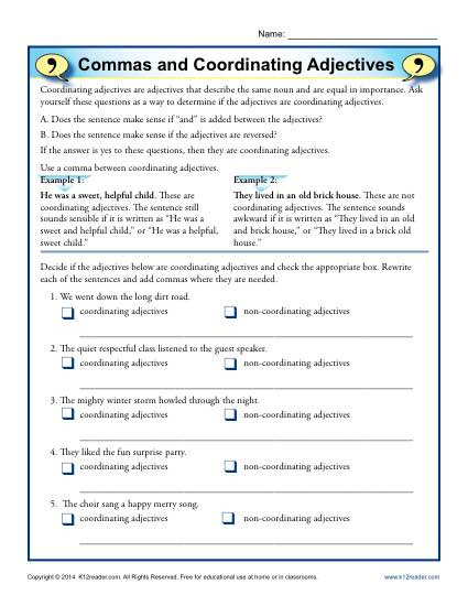 Commas Worksheet 3rd Grade Mas and Coordinating Adjectives
