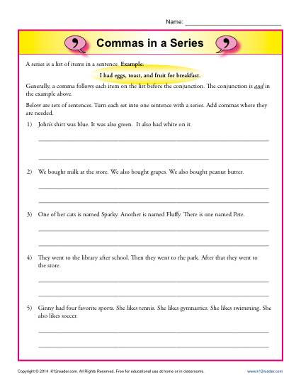 Commas Worksheet 3rd Grade Mas In A Series