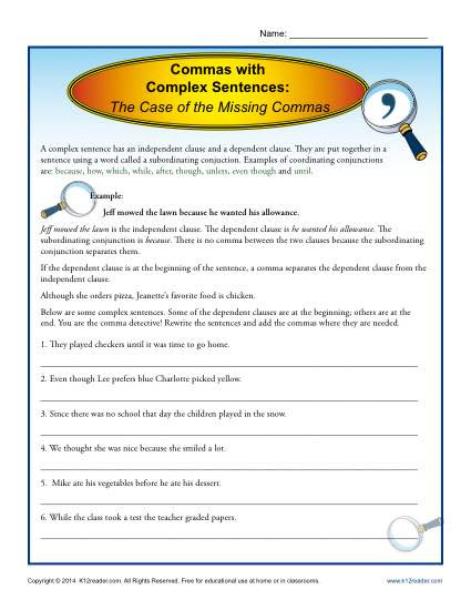 Commas Worksheet 3rd Grade Mas with Plex Sentences