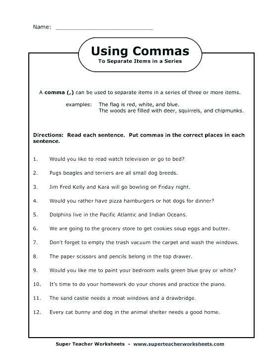 Commas Worksheet 3rd Grade Pin by Alicia Hernandez On English Grammar Worksheets