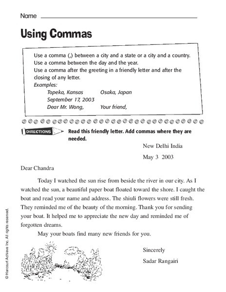 Commas Worksheet 3rd Grade Using Mas Worksheet for 2nd 3rd Grade