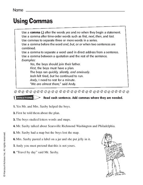 Commas Worksheet 3rd Grade Using Mas Worksheet for 3rd 4th Grade