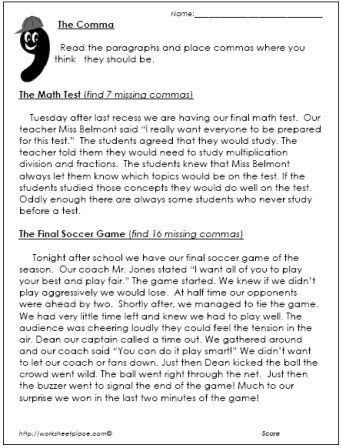 Commas Worksheet 5th Grade Ma Worksheet Paragraphs
