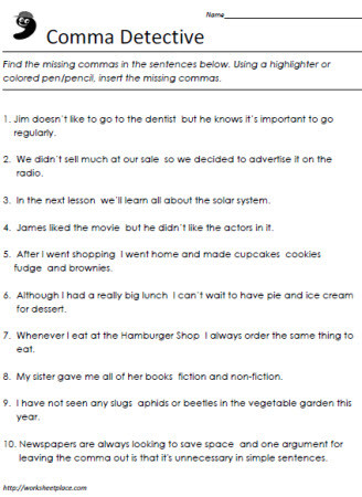 Commas Worksheet 5th Grade Ma Worksheets