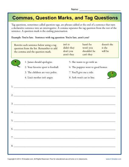 Commas Worksheet 5th Grade Mas Question Marks and Tag Questions
