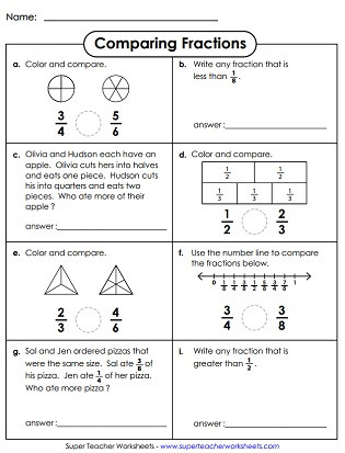 Comparing Fractions Third Grade Worksheet Paring & ordering Fractions Worksheets