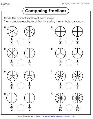 Comparing Fractions Third Grade Worksheet Paring Fractions Worksheets