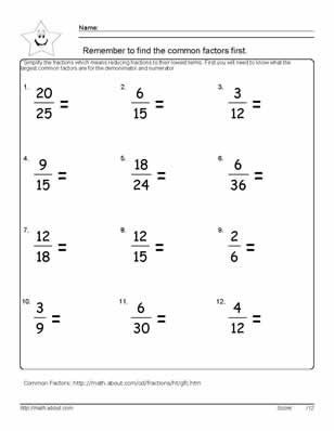 Comparing Fractions Worksheet 4th Grade 9 Worksheets On Simplifying Fractions for 6th Graders