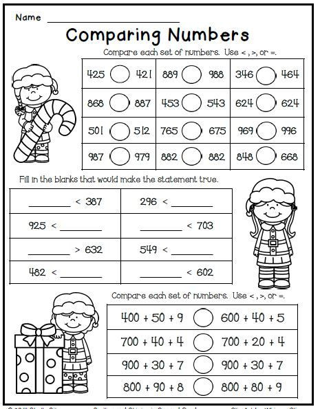 Comparing Numbers Worksheets 2nd Grade Christmas Freebie Print and Go