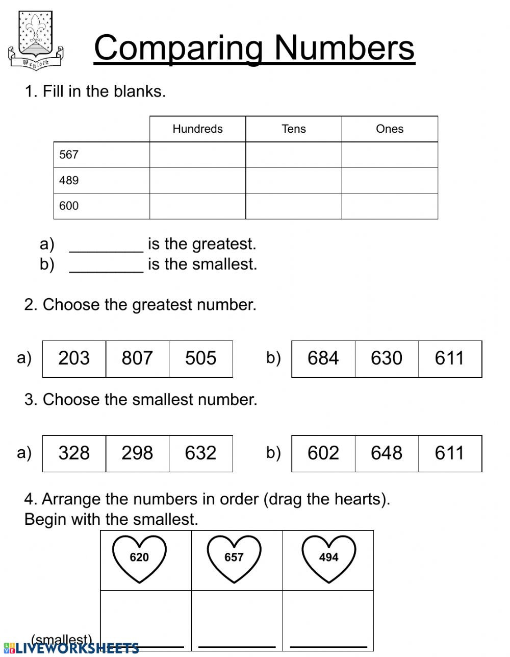 Comparing Numbers Worksheets 2nd Grade Paring Numbers Second Grade Interactive Worksheet