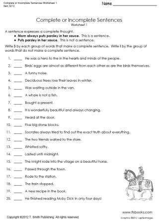 Complete Sentence Worksheets 3rd Grade Plete or In Plete Sentences Worksheet 1