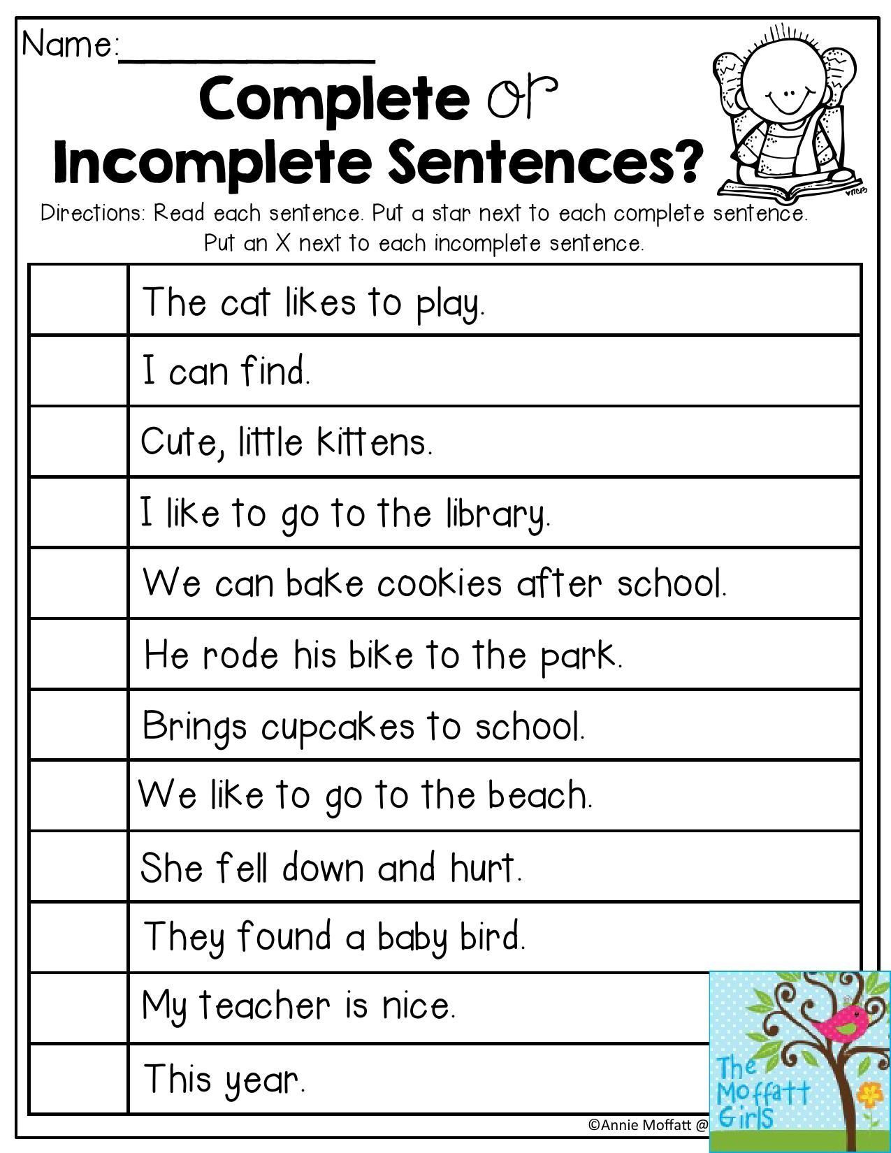 Complete Sentences Worksheet 1st Grade Back to School Packets