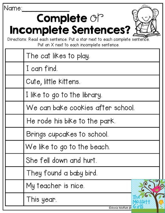 Complete Sentences Worksheet 1st Grade Plete or In Plete Sentences Read Each Sentence and