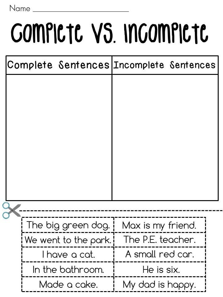 Complete Sentences Worksheet 1st Grade Plete Sentences Vs In Plete Sentences sorting