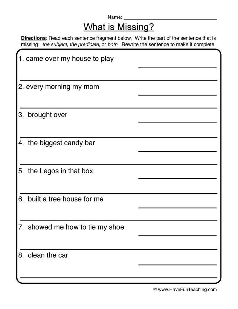 Complete Sentences Worksheet 1st Grade What is Missing Plete In Plete Sentences Worksheet