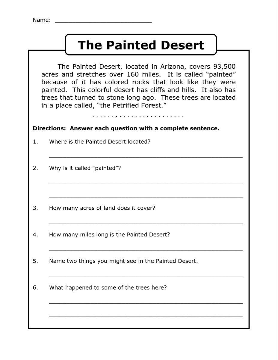 Complete Sentences Worksheet 4th Grade 4th Grade Reading Prehension Worksheets