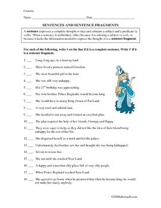 Complete Sentences Worksheet 4th Grade Free Printable Worksheets On Sentence Fragments