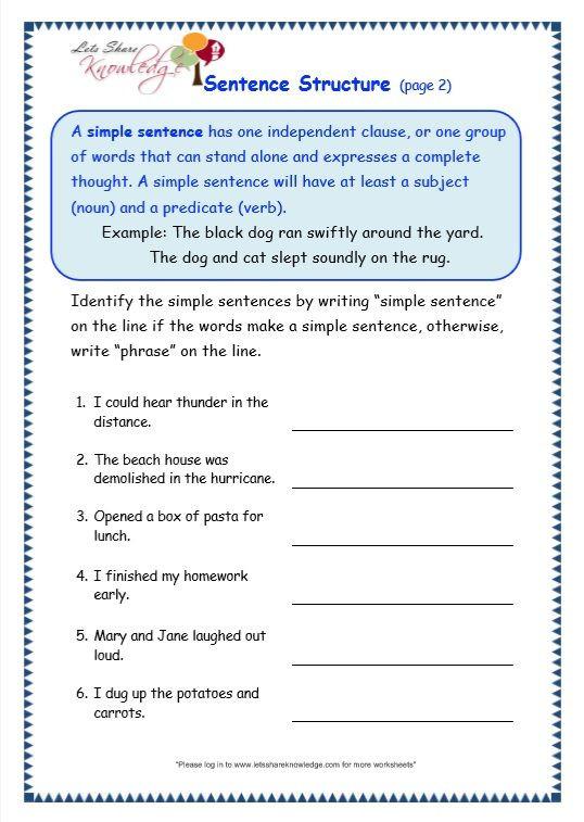 Complete Sentences Worksheet 4th Grade Grade Grammar topic Sentence Structure Worksheets