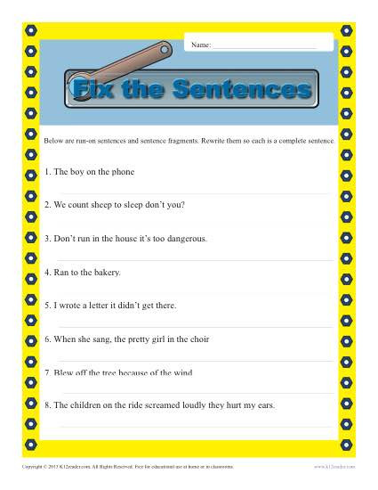 Complete Sentences Worksheet 4th Grade Run On and Fragments