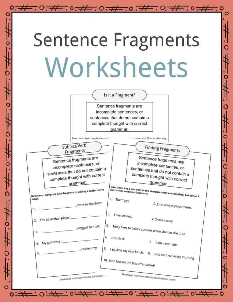 Complete Sentences Worksheet 4th Grade Sentence Fragments Worksheets Examples & Definition for Kids