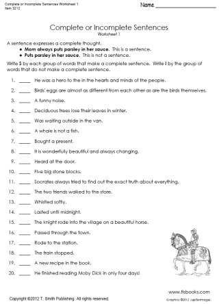 Complete Sentences Worksheets 4th Grade Plete or In Plete Sentences Worksheet 1