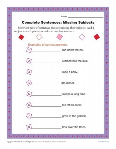 Complete Sentences Worksheets 4th Grade Plete Sentences Missing Subjects