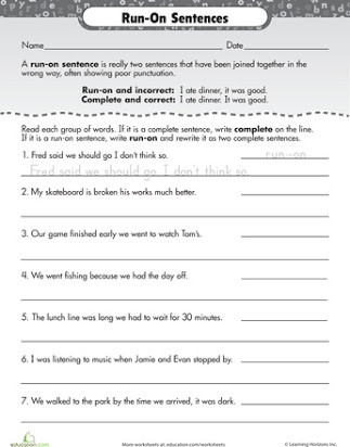 Complete Sentences Worksheets 4th Grade Run On Sentences Worksheet
