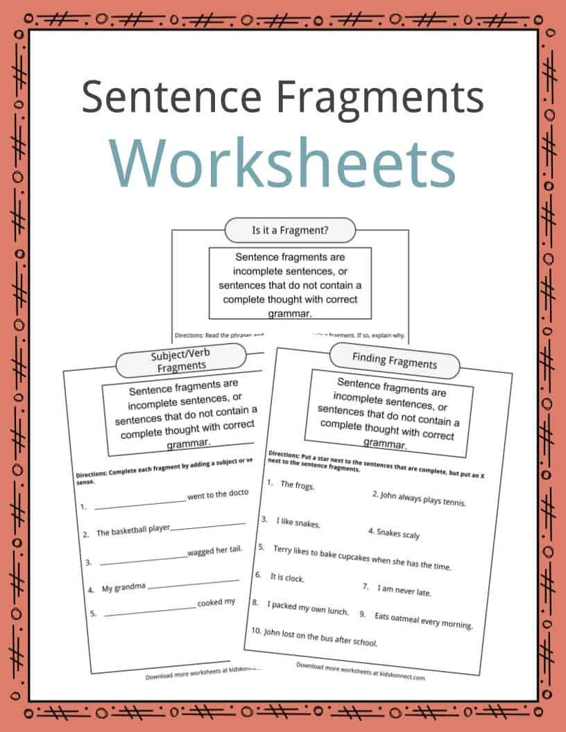 Complete Sentences Worksheets 4th Grade Sentence Fragments Worksheets Examples & Definition for Kids