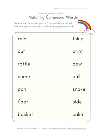 Compound Word Worksheet 2nd Grade Matching Pound Words Worksheet E Of Four