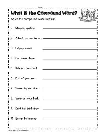 Compound Word Worksheet 2nd Grade Pound Word Riddles Worksheets