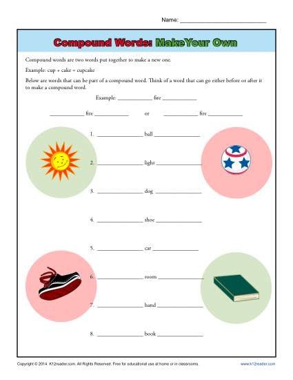 Compound Word Worksheet 2nd Grade Pound Words Worksheet Activity Make Your Own
