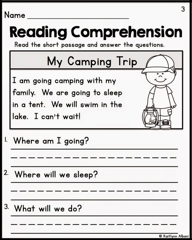 Comprehension Worksheet First Grade Kindergarten Reading Prehension Worksheets Multiple