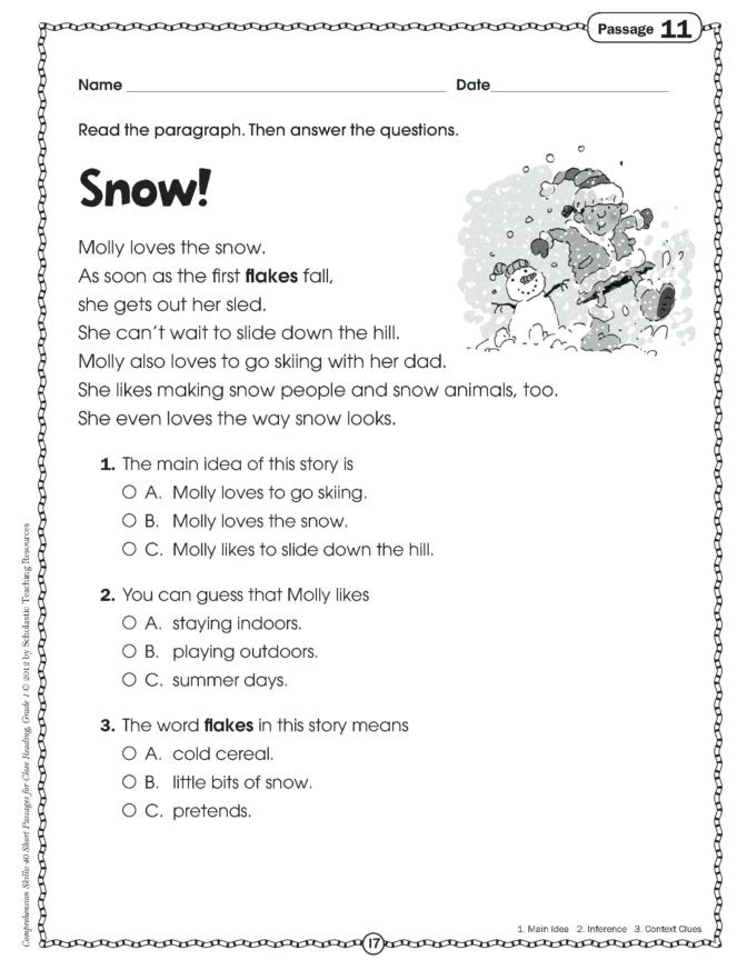 Comprehension Worksheet First Grade Math Worksheet 1st Grade Prehension Passages Free First