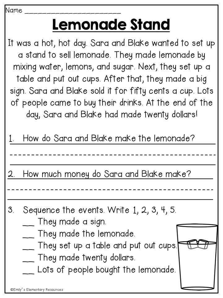 Comprehension Worksheet First Grade Summer First Grade Review Printables
