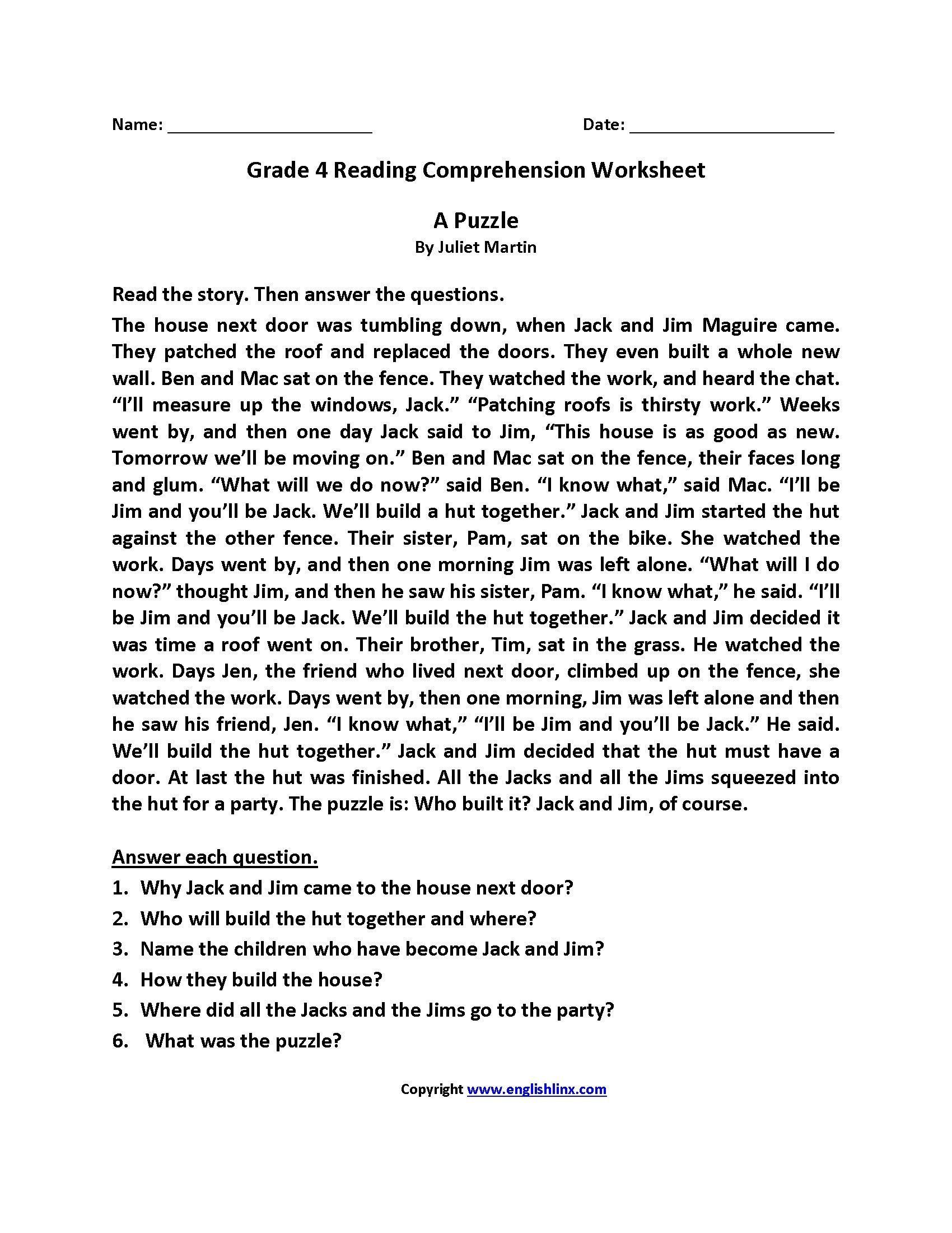 Comprehension Worksheets for Grade 6 4 Worksheet Reading Prehension Worksheets Fourth Grade 4