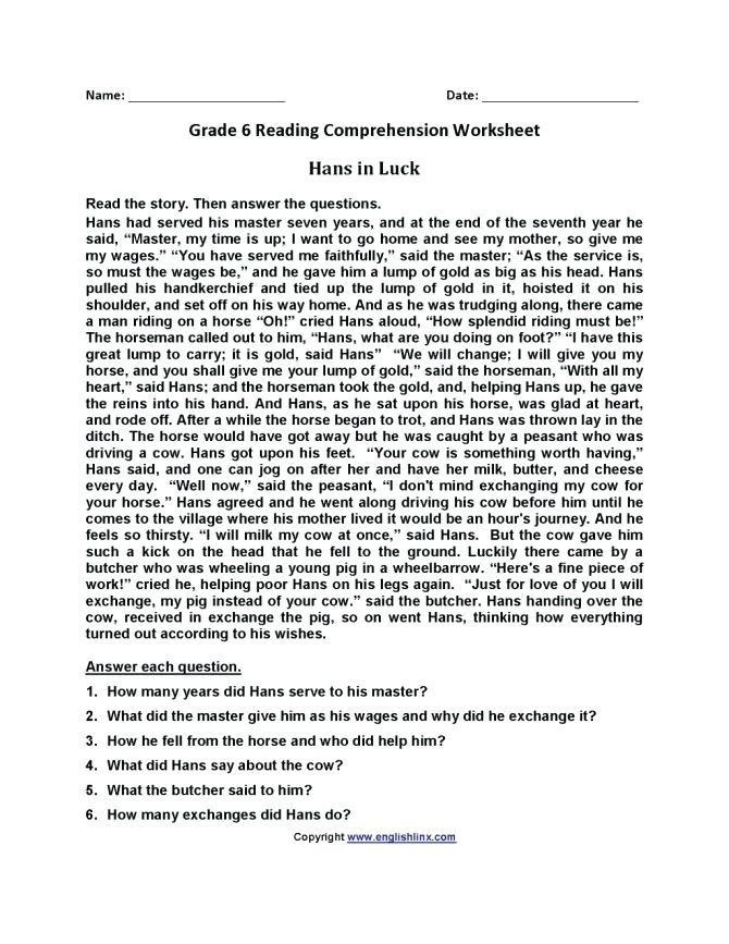grade 6 language worksheets