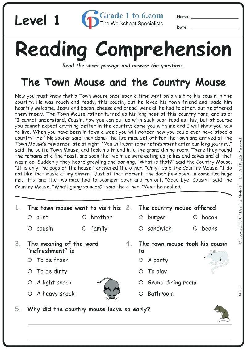 Comprehension Worksheets for Grade 6 Prehension Worksheets Grade 4 – Lowgrav
