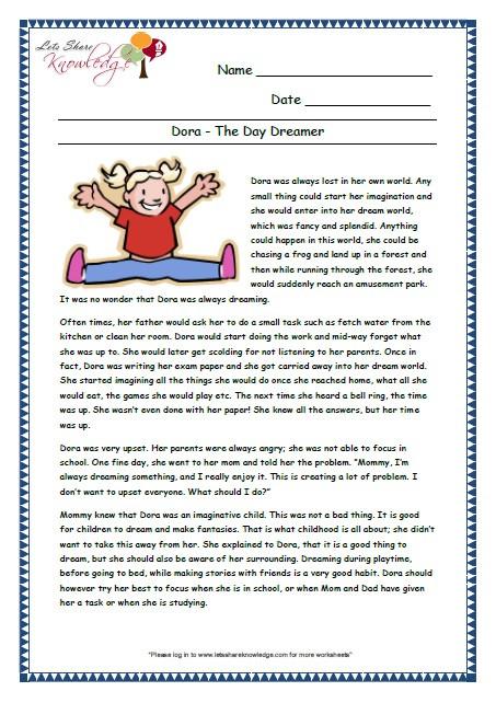Comprehension Worksheets for Grade 6 Prehensions for Grade 3 Ages 7 9 Worksheets
