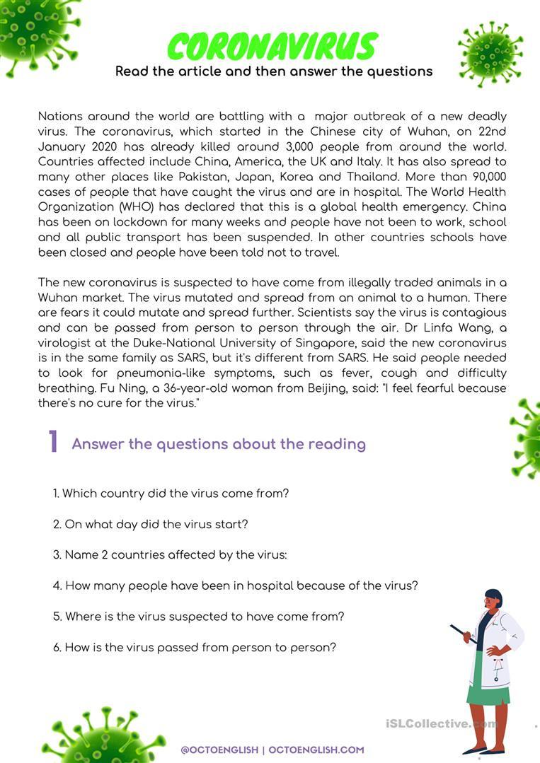 Comprehension Worksheets for Grade 6 Reading Prehension Coronavirus English Esl Worksheets