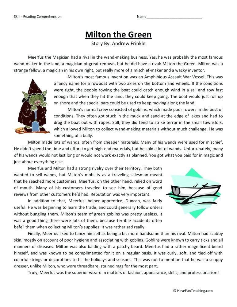 Comprehension Worksheets for Grade 6 Reading Worksheets Grade 6 – Girisx