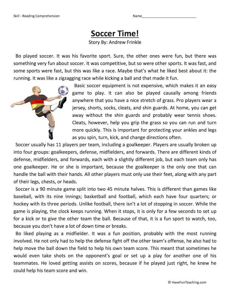 Comprehension Worksheets for Grade 6 soccer Time Reading Prehension Worksheet
