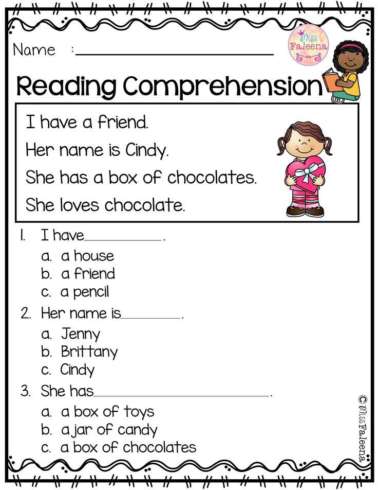 Comprehension Worksheets for Kindergarten February Reading Prehension